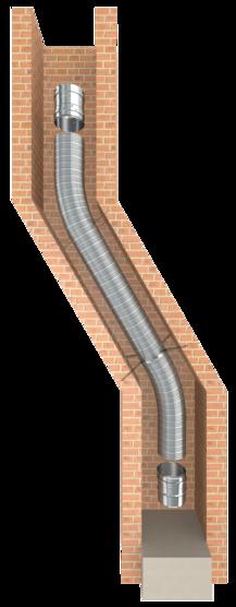 Flexibler und druckdichter einwandiger Edelstahlkamin für die Schornsteinsanierung oder als Verbindungsleitung einer Abgasanlage