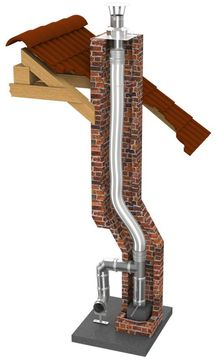 Flexibler und druckdichter einwandiger Edelstahlschornstein für die Schornsteinsanierung oder als Verbindungsleitung einer Abgasanlage